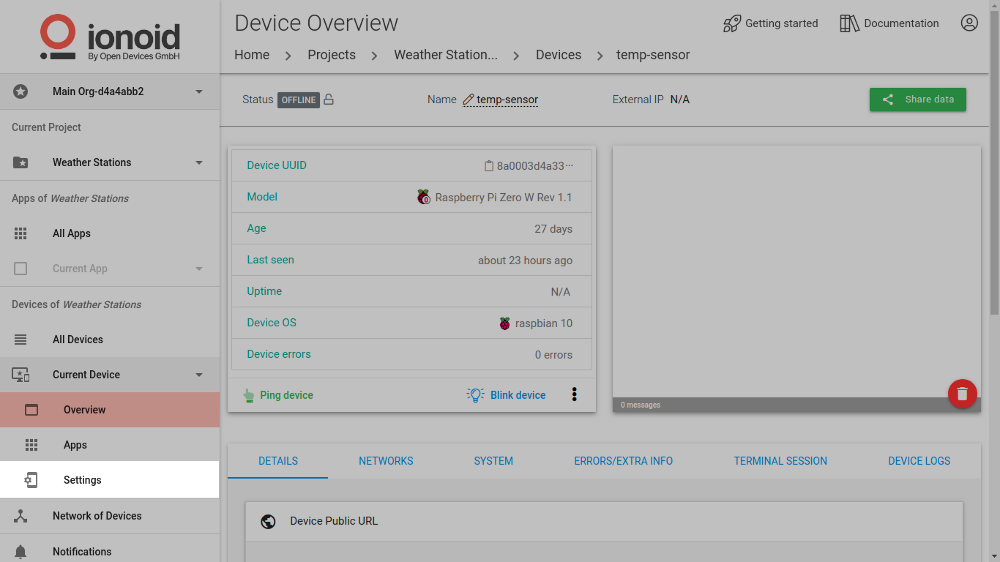 Device Settings Page